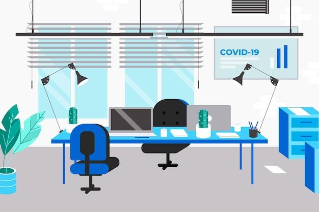 Leeg kantoor met techneuten en planten Premium Vector