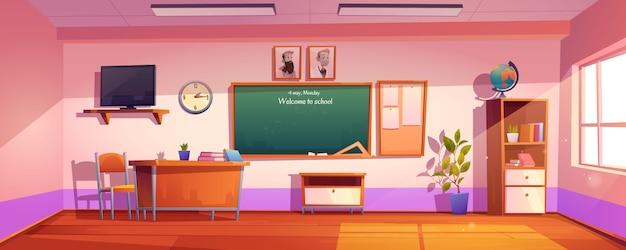 Leeg klaslokaal met inscriptie welkom op school Gratis Vector