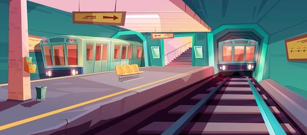 Leeg metroplatform met aankomende treinen Gratis Vector