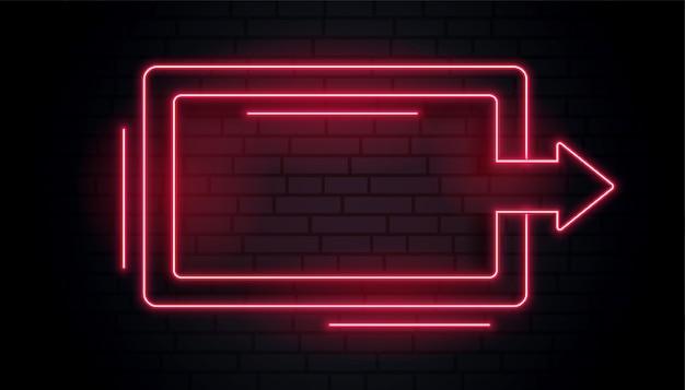 Leeg neon pijl licht frame Gratis Vector