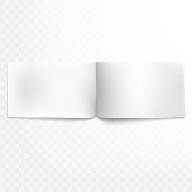 Leeg open tijdschrift op transparante achtergrond. en omvat ook Premium Vector