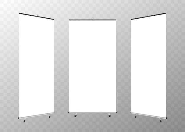 Leeg oprolbaar xbanner-display. Premium Vector