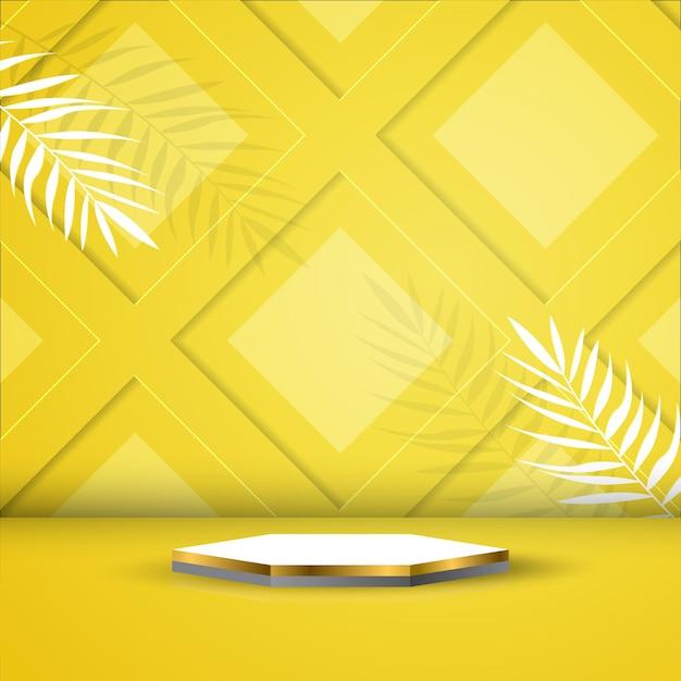 Leeg podium voor productvertoning of promotie met bladeren Premium Vector