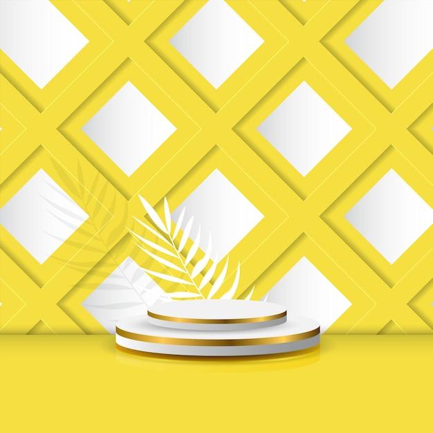 Leeg podiumpodium voor productvertoning of promotie met bladeren op gele achtergrond Premium Vector