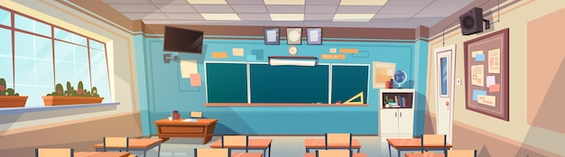Leeg schoolklas ruimte interieur bestuurskamer Premium Vector