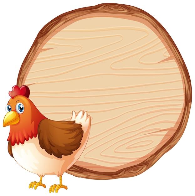 Leeg teken sjabloon met schattige kip Gratis Vector