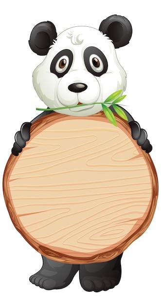Leeg teken sjabloon met schattige panda op witte achtergrond Gratis Vector