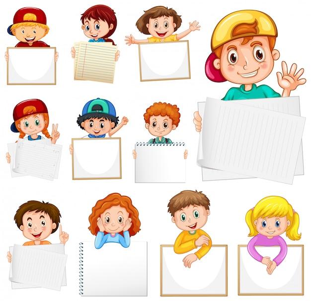 Leeg teken sjabloon met veel kinderen op witte achtergrond Gratis Vector