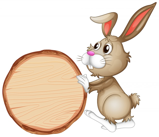Leeg tekenmalplaatje met bruin konijntje op witte achtergrond Gratis Vector