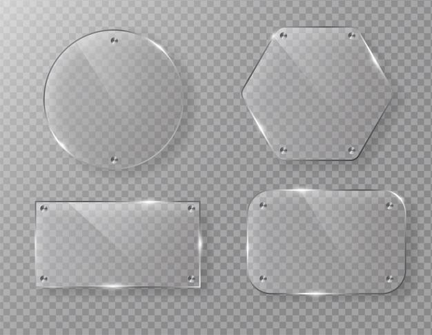 Leeg vectorglaskaderetiket op transparant. Premium Vector
