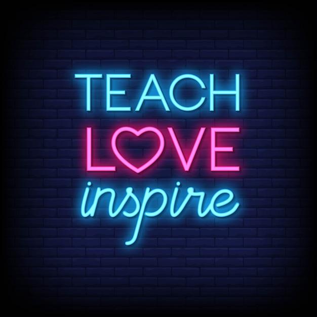 Leer liefde inspireren neontekens stijltekst Premium Vector