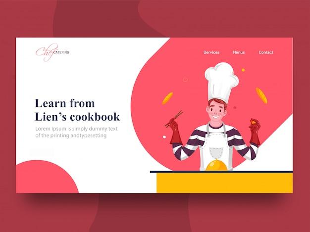 Leer van lien's kookboek bestemmingspagina met chef-kok karakter presenteren voedsel cloche op tafel. Premium Vector