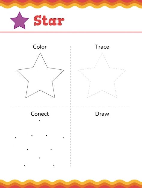 Leer vormen en geometrische figuren. voorschoolse of kleuterschool werkblad. vector illustratie Premium Vector