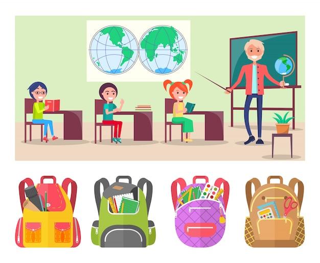 Leerlingen strudy geography met wereldkaart en globe Premium Vector