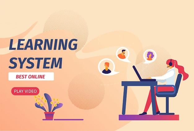 Leersysteem beste online horizontale banner. Premium Vector
