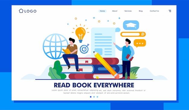 Lees boek bestemmingspagina website illustratie vector ontwerp Premium Vector