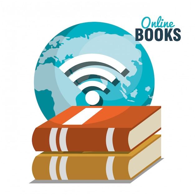 Lees boeken online ontwerp Premium Vector