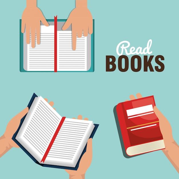 Lees boeken ontwerp Gratis Vector
