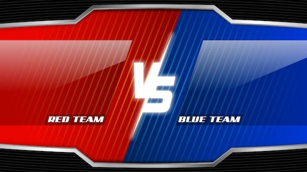 Lees team versus blauw team esports screen Premium Vector