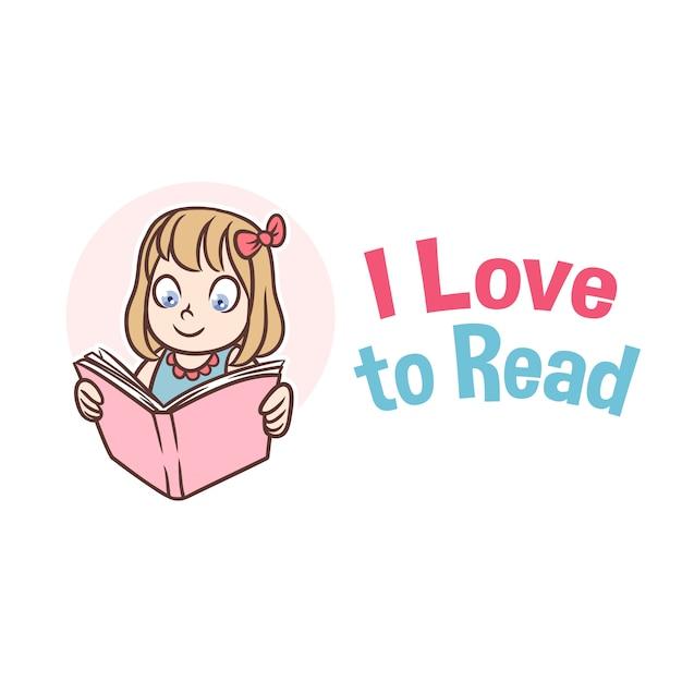 Leesboek girl mascot-logo Premium Vector