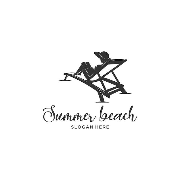 Leesboek zomer strand silhouet logo Premium Vector