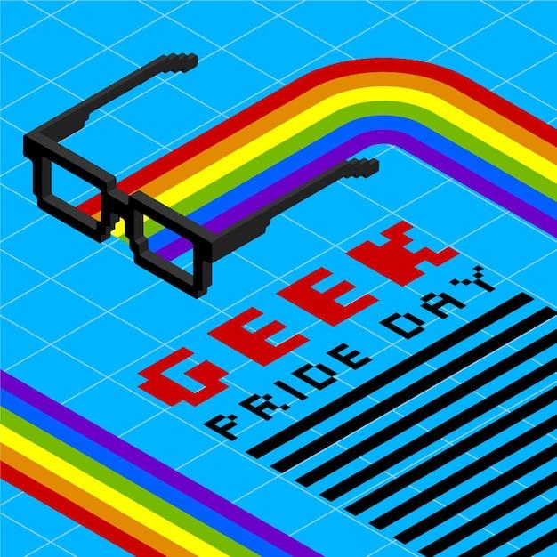 Leesbrillen en regenboog geek pride-dag Gratis Vector