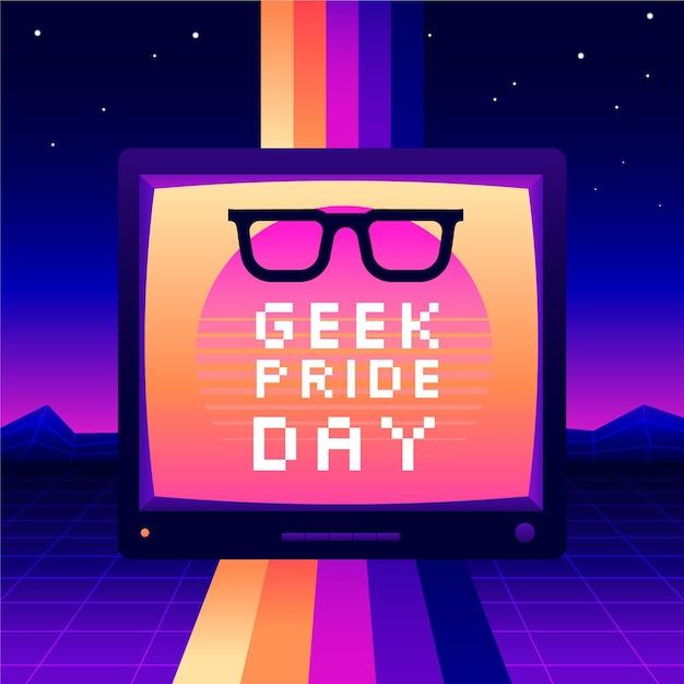 Leesbrillen en synthwave-effect geek pride-dag Gratis Vector