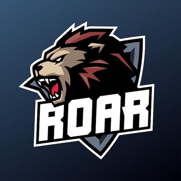 Leeuw brul mascotte voor sport en esports logo geïsoleerd op donkere achtergrond Premium Vector