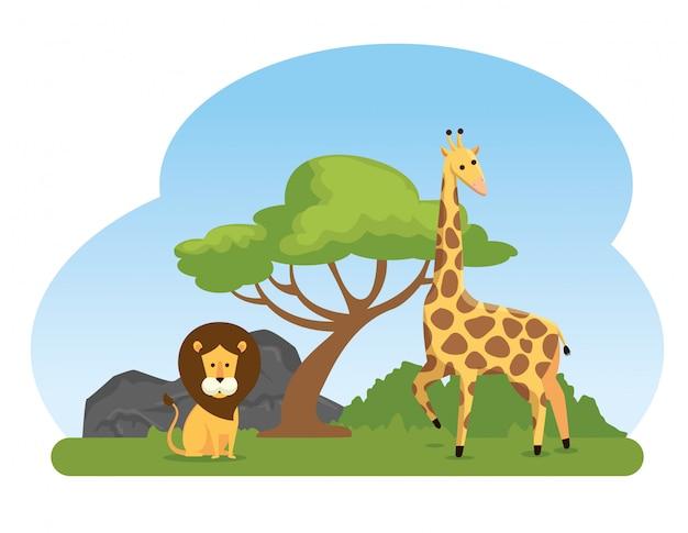 Leeuw en giraf wilde dierenreserve Gratis Vector