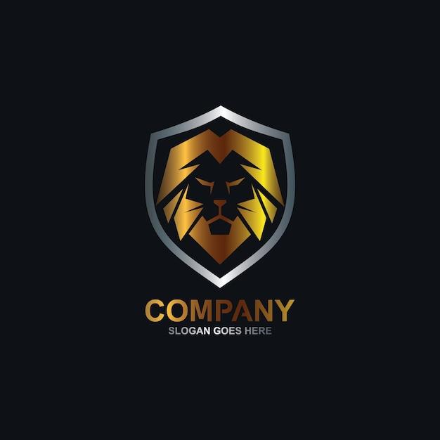 Leeuw en schild logo Premium Vector