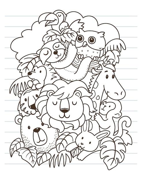 Leeuw en vrienden doodle kunst Premium Vector