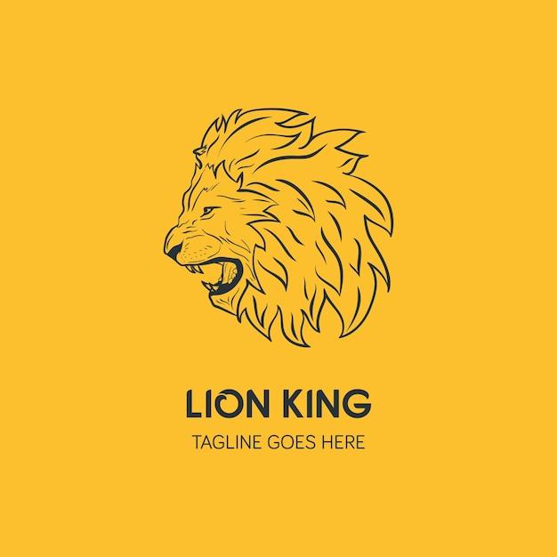 Leeuw hoofd logo sjabloon. hand getrokken creatieve logo Premium Vector