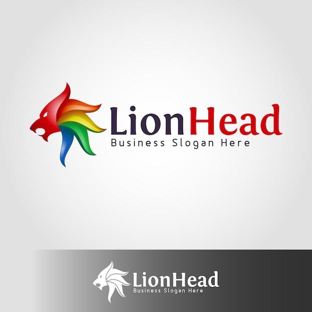 Leeuw hoofd logo sjabloon Premium Vector
