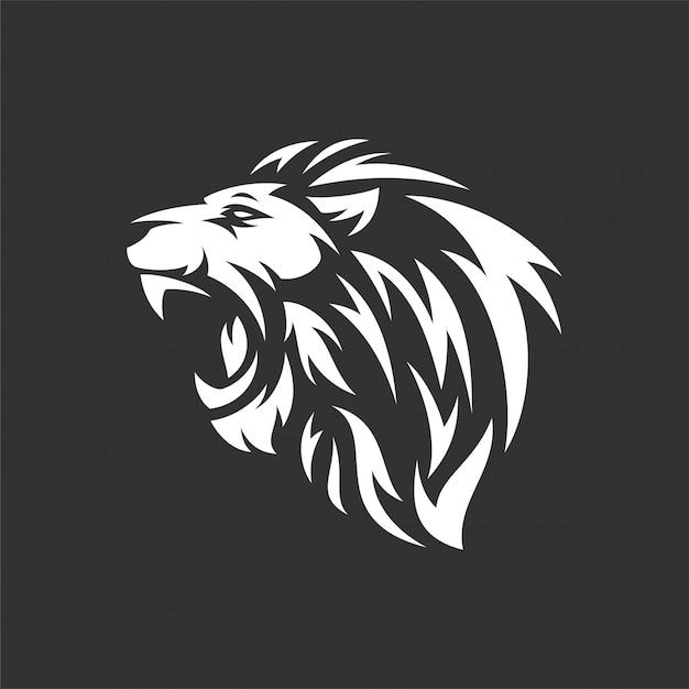 Leeuw hoofd stam logo Premium Vector