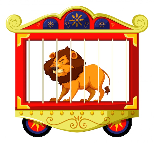 Leeuw in circus kooi Gratis Vector