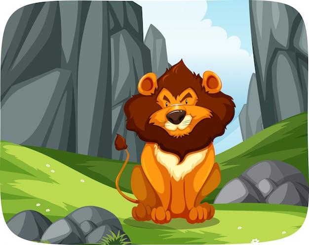 Leeuw in de natuur scène Gratis Vector