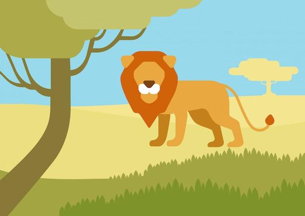 Leeuw in habitat platte cartoon, wilde dieren. Gratis Vector