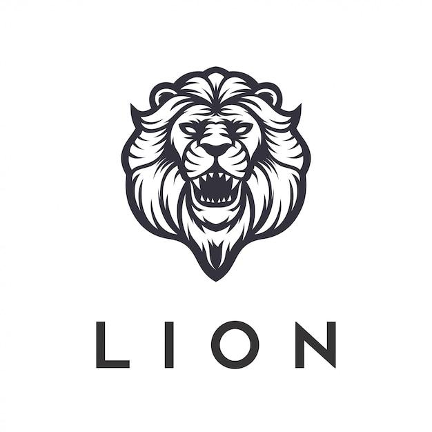 Leeuw logo ontwerp boos vector sjabloon Premium Vector