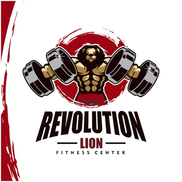 Leeuw met sterk lichaam, fitnessclub of gym logo. Premium Vector
