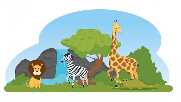 Leeuw met zebra en giraf in het natuurreservaat Gratis Vector