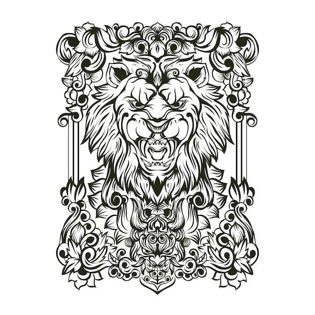 Leeuw schedel ornament illustratie Premium Vector