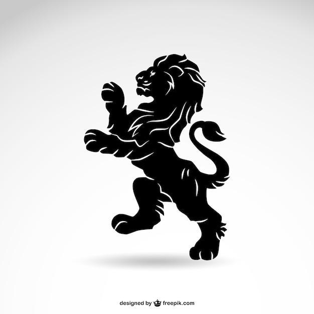 Leeuw vector heraldiek silhouet Gratis Vector