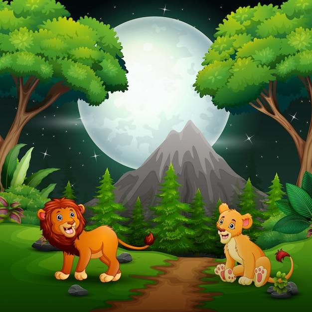 Leeuwbeeldverhaal die op de wildernisachtergrond brullen Premium Vector