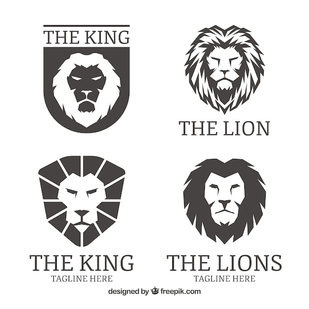 Leeuwen logo's, zwarte kleur Premium Vector