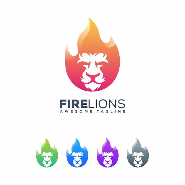 Leeuwen vuur illustratie vector sjabloon Premium Vector