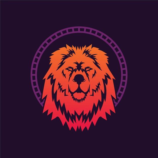Leeuwenkoning illustratie logo Premium Vector