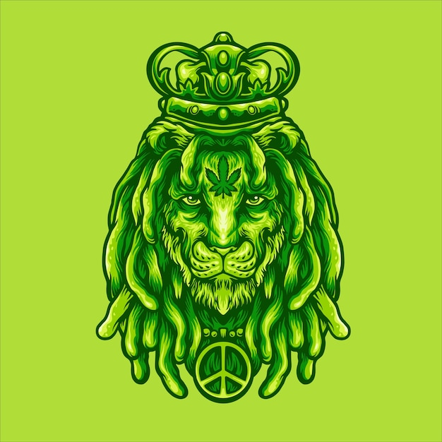 Leeuwenkoning marihuana Premium Vector