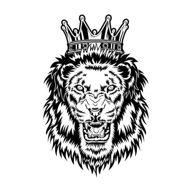 Leeuwenkoning vectorillustratie. hoofd van boos brullend mannelijk dier met manen en koninklijke kroon Gratis Vector