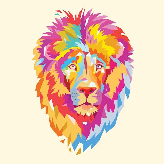 Leeuwenkop full colour dierenlogo Premium Vector