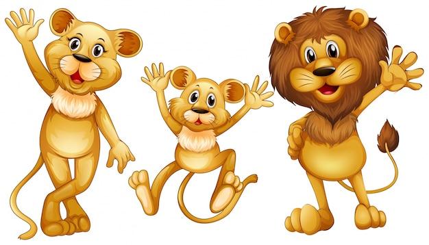 Leeuwfamilie met een kleine welpillustratie Gratis Vector